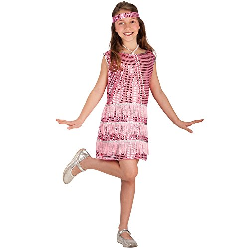 Carnival Toys 68022 - Charlston Kinderkostüm mit Haarband, 8-9 Jahre, - Charleston Kinder Kleid
