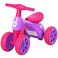 HOMCOM Baby Balance Bike Safe&Comfortable For Toddler Training Tricycle w/ Smooth Rubber Wheels Toy Gift Storage Bin Multicoloured/Violet Fuchsia
