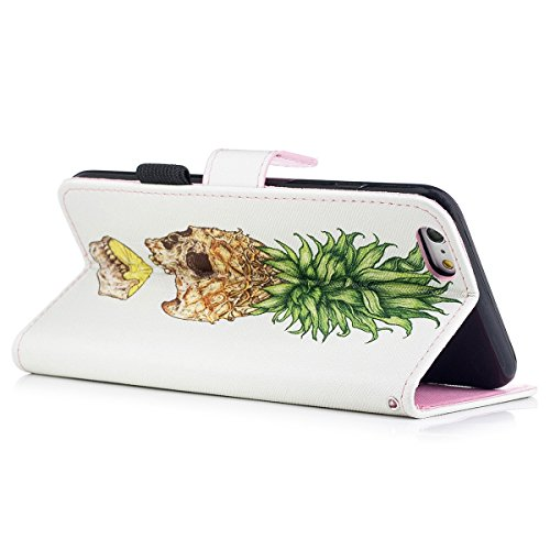 "MOONCASE iPhone 6 Plus/iPhone 6s Plus Coque, [Colorful Pattern] Wristbands avec Support Protection Étuis Case Card Holder Flip Cuir Housse pour iPhone 6s Plus 5.5"" Wind Chimes Pineapple"
