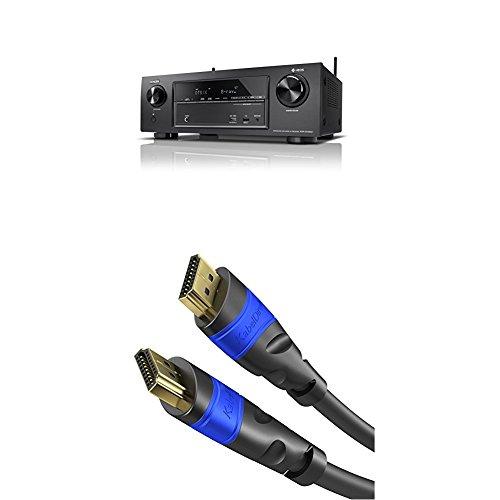 Denon AVRX1400H 7.2-Kanal AV-Receiver und HEOS Integration schwarz + KabelDirekt 2m HDMI Kabel / kompatibel mit HDMI 2.0a/b, 2.0, 1.4a