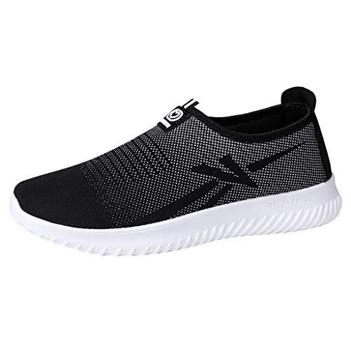 MEIbax Uomo Scarpe Running, Scarpe Casual a Fondo Piatto Traspiranti Sneaker da Lavoro Leggere Eleganti Sport Scarpe Outdoor Fitness Trekking Estive Running Shoes (Nero, EU 43)