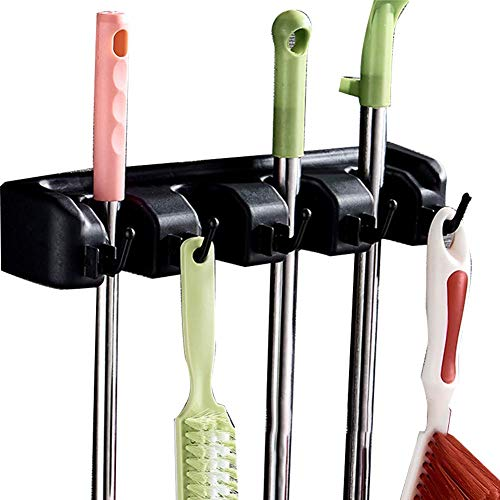 Space-saving Storage-systeme (CWeep Broom Mop Holder Garden Tool Commercial Organizer Rake Handles Up Saving Space Storage Rack for Kitchen Garage Laundry (Black (5 Hook)))