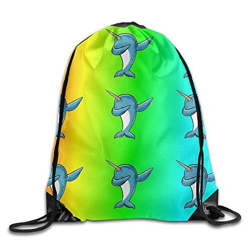 Estrange Rainbow Dabbing Narwhal Unisex Drawstring Backpack Travel Sports Bag Drawstring Beam Port Backpack. Fisheye-port