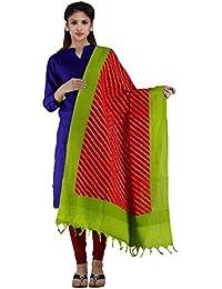 Unnati Silks Women Red-Green Pure Pochampally Ikkat Printed Dupatta