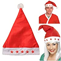 thehomegallery Kids Santa Cap 5 Flashing Light Christmas Xmas Party Hat fancy dress Costume