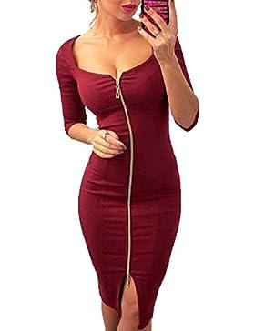 La Mujer Bodycon Dress Liso de Corte Bajo Sexy Con Cremallera Vestido Elegante de Manga Larga Cuello Redondo Coctel...