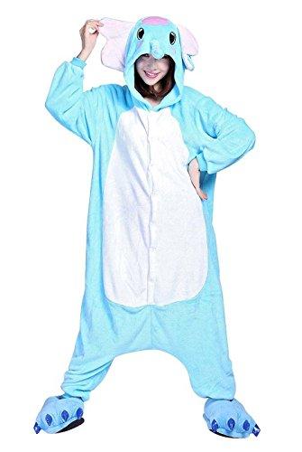 Damen Herren Unisex Adult Erwachsene Elefant Animal Anime Tier Weihnachten Halloween Fasching Carnival Kigurumi Cosplay Overall Pajamas Pyjamas Schlafanzug Kostüme Jumpsuit kleid Kleidung (Halloween-pyjama Adult)