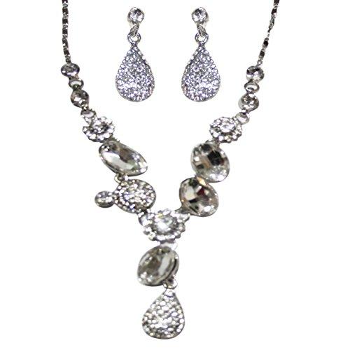 Ballsaal Kostüm Schmuck - Bedazzled Diamant klar Oval, runde & Tropfenform Steine Fashion Halskette und passende Ohrringe Schmuck-Set-in Geschenkbox
