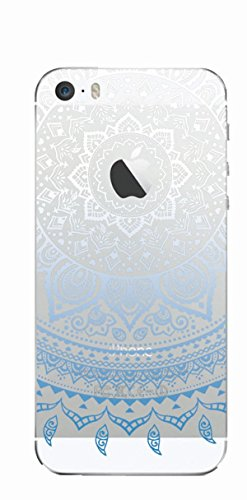 MPPK-Hamburg ® Apple iPhone ® 5 / 5S / SE 4 Zoll Schutz Hülle - Case in wunderschönem Design – Stabiles / transparentes PC - Hirsch im Gebirge Mandala Blau