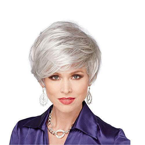 Perücke Kopfbedeckung kurze Haare locken Silbergrau 25cm