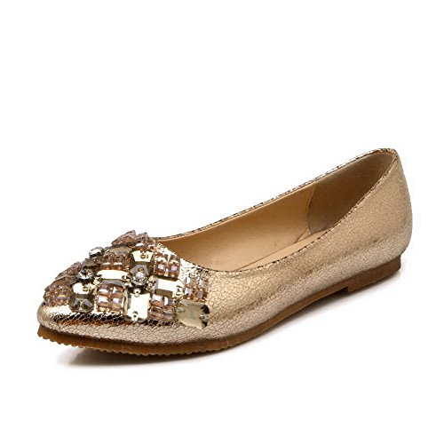 AalarDom Damen Ziehen Auf Ohne Absatz Spitz Zehe Flache Schuhe mit Zirkon, , Golden-Zirkon