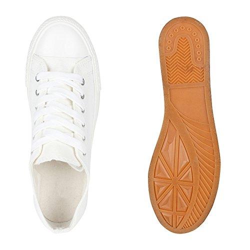 Sportliche Damen Sneakers Kult Nieten Flach Schnürer Schuhe Weiss Weiss
