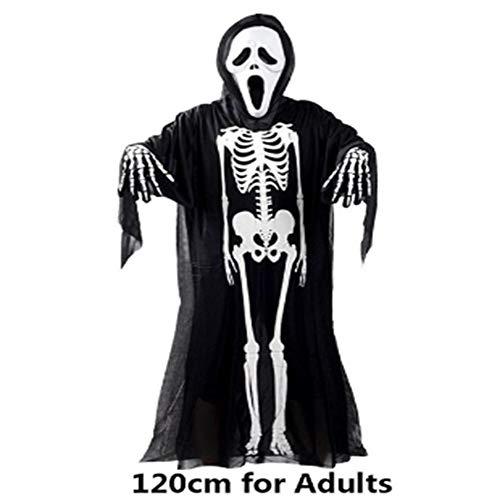 Goods Prom Halloween Skelett KostümHalloween Kostüm Schädel Skelett Dämon Geist Cosplay Kostüme für Erwachsene und Karneval Maskerade Kleid Scary Kleider Maske, 120cm ()