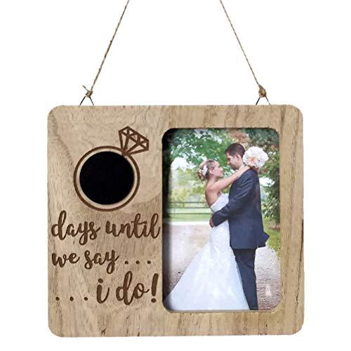 BESTOYARD Hochzeit Countdown Schild Unterschreiben Tafel Holz Bilderrahmen Vintage Hochzeit Schild Plakette Deko Anhänger (Tafel-hochzeits-countdown)