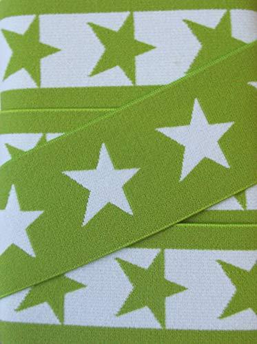 Gummiband 40 mm mit Sternen (apfel grün)