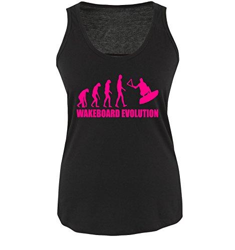 Comedy Shirts WAKEBOARD EVOLUTION - Damen Tank Top Shirt Schwarz/Pink Gr. S
