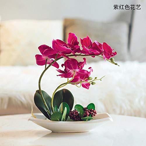 Blumen echte Haptik Phalaenopsis Orchidee Pflanze mit Keramiktöpfen zur Dekoration Huizhilan Heart [Purple] ()