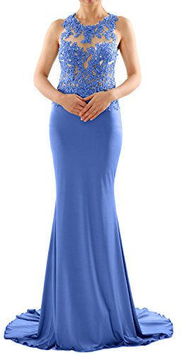 MACloth Women Mermaid Long Lace Jersey Long Prom Dress Formal Party Evening Gown Blau