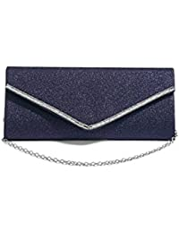 Women Envelope Clutch Purse Metallic Glitter Evening Bag Handbag With Chain Strap (Royal Blue, Silver) By Nothing...
