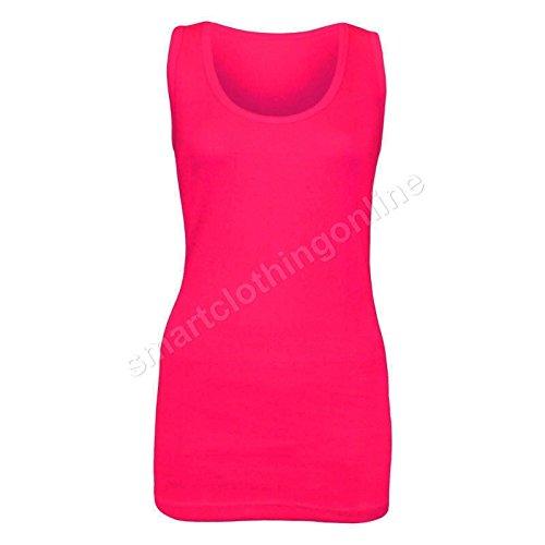 Damen Maxikleid, ärmellos, Stretch, Baumwolle, gerippt, Übergröße Top kirsch-pink