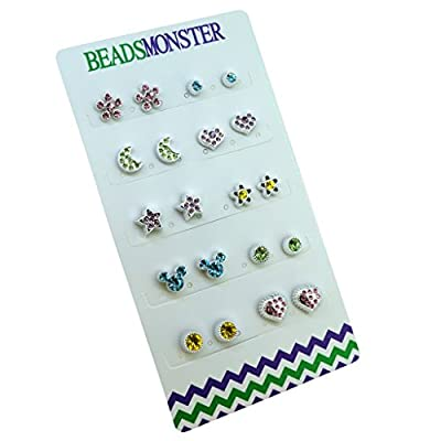 Color Crystal Magnetic Clip On Studs Earrings For Daughter Womens Girls Kids
