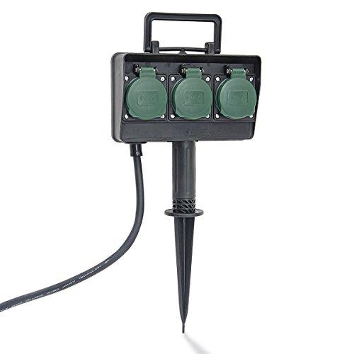 Electraline 55411 Tomas para jardín Tipo estaca, Negro y Verde