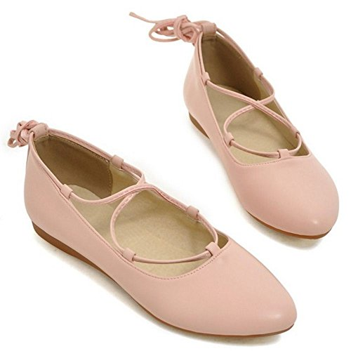 COOLCEPT Femmes Mode Appartements Dentelle Ballerines Robe Escarpins Chaussures Rose