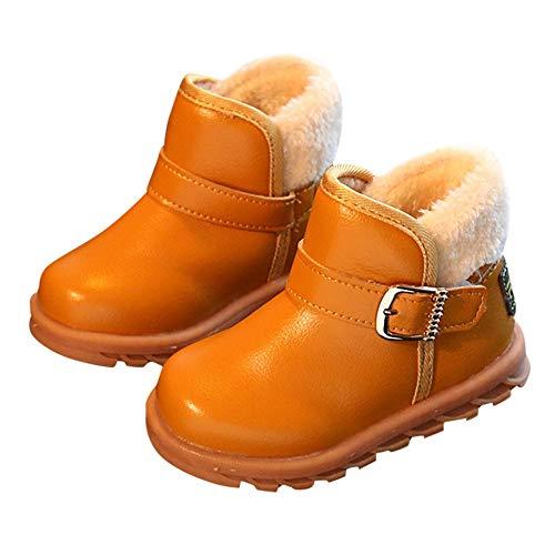 Robemon✬Autumn Hiver Épaissi Chaleur Enfant Bébé Fille Garçon Bambin Cachemire Cuir Chaud Bottes Doublure intérieure Polaire Martin Chaussures 1-12Ans