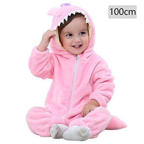 Baby Kapuzen Strampler Herbst Winter Flanell Jumpsuits Mädchen Jungen Cartoon Tier Jumpsuit Schlafanzug Kinder Kleinkind Cosplay Kostüm Vier Jahreszeiten Universal Form, merhfarbig, pink monster 100cm