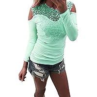 Geili Damen Bluse Langarm O-Ausschnitt Spitze Patchwork T-Shirt Frauen Sexy Slim Fit Schulterfrei Hemdbluse Herbst... preisvergleich bei billige-tabletten.eu