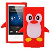 Coque silicone cartoon Pingouin pour iPod nano 7 rouge