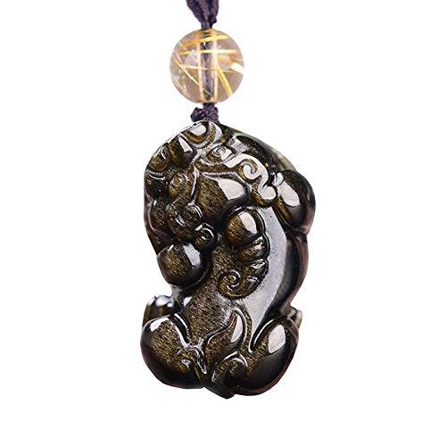 Schlafengehen Kostüm Dem Vor Tragen - J.Memi's Natürlicher Obsidian Halskette Kristallpaar Pi Xiu Anhänger Handgemacht Schmuck Valentinstag, Schwarz