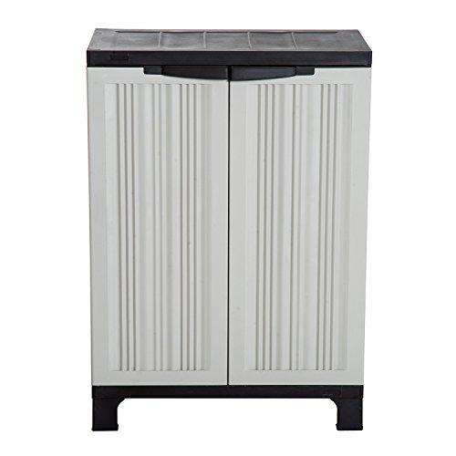 Outsunny Plastic Utility Cabinet Garden Tool Shed Patio Double Door Storage Closet Adjustable Shelves Grey