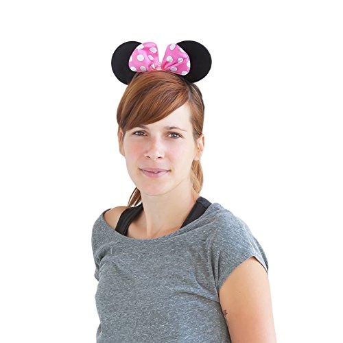 Oblique-Unique® Haarreifen mit Maus Ohren Minnie Mouse mit Schleife - Rosa Weiß gepunktet (Rosa Minnie Maus Ohren)