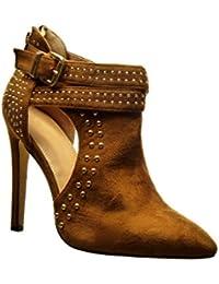 Angkorly - Zapatillas de Moda Botines stiletto sexy abierto mujer tachonado Hebilla metálico Talón Tacón de aguja alto 11.5 CM - Camel