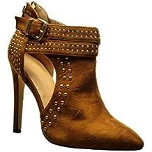51f8a8e955c2c Angkorly Chaussure Mode Bottine stiletto sexy ouverte femme clouté boucle  métallique Talon haut aiguille ...