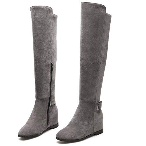 COOLCEPT Women Damen Plateau Stiefel Mit Increaseing Mit Keilabsatz Zipper Grau
