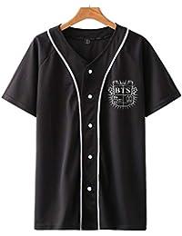 SIMYJOY Unisexo BTS Fans T-Shirt KPOP Hombres y Mujeres Botón Frontal Cool  Camiseta De dee295d6353