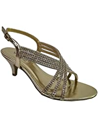 d098b38e8764 Absolutely Gorgeous Boutique Womens Diamante Low Mid Heel Wedding Prom  Party Strappy Sandals Shoes