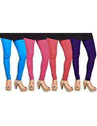 CAY 100% Cotton Combo of Pink, Purple, SkyBlue and Baby Pink Color Plain, Stylish & Most Comfortable Leggings For Girls & Women with Full Length (SIZE : Free Size)