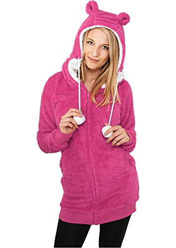 "Urban Classics Femme Jeune Mode ""Ladies Long Teddy Zip Hoody"" fuchsia/white"