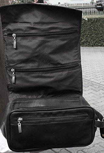 Trousse de toilette à accrocher à nouveau aS201 luxe sac noir/cuir aski lefox