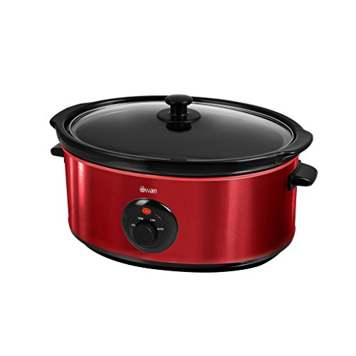 Swan SF17030ROUN Stainless Steel Slow Cooker, 6.5 Litre, Red (08-10)