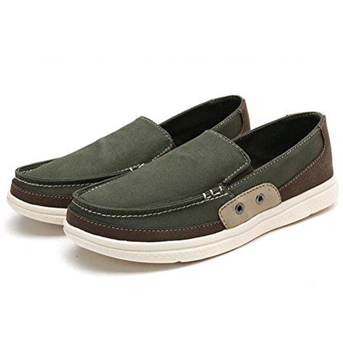 MatchLife Unisex Segeltuch Paare Trend Freizeit Flache Untere Schuhe Style2-Grün
