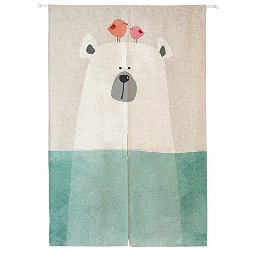 Icegrey Leinen Vorhang Japanische Noren Panels Kinder Schlafzimmer Tür Vorhang mit Zugstange Eisbär,70 x 150 cm