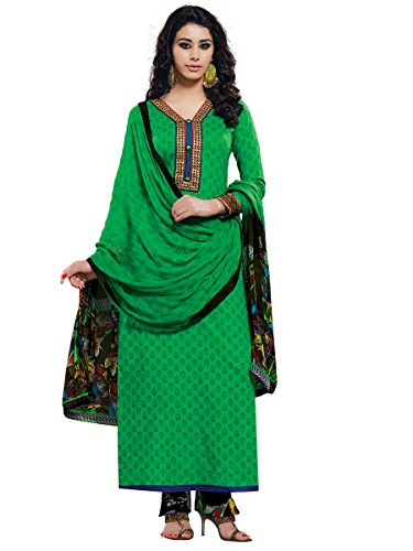Green Colour Cotton Semi Party Wear Zari Embroidery Pant Style Suit 776