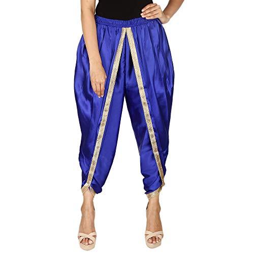 Königsblau Dhoti-Hose aus satinierter Seide in Königsblau, Patiala Dhoti Salwar, Dhoti-Hose für Damen, Mädchen -