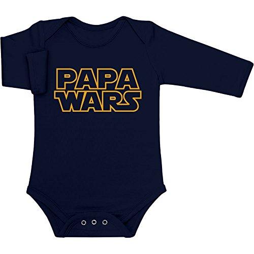 Witziges Baby Geschenk für Star Fans - PAPA WARS Baby Langarm Body Newborn Marineblau
