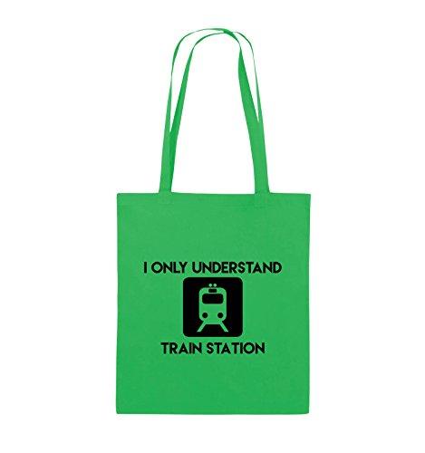 Buste Comiche - Capisco Solo La Stazione Ferroviaria - Borsa Di Juta - Manico Lungo - 38x42cm - Colore: Nero / Argento Verde / Nero