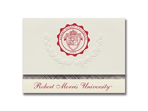 Signature Ankündigungen Robert Morris Universität Graduation Ankündigungen, platin Stil, Elite Pack 20mit Robert Morris Universität Dichtung Folie